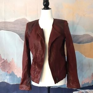 Lamb leather burgundy jacket
